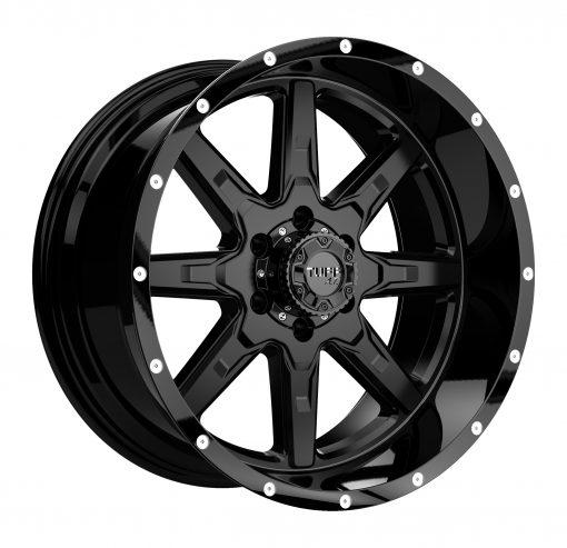 TUFF Wheels T15 SATIN BLACK W/GLOSS BLACK LIP