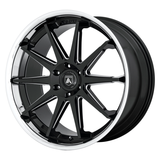 Asanti Black Wheels ABL-29 EMPEROR GLOSS BLACK MILLED WITH CHROME LIP