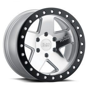 Black Rhino Custom Wheels CRAWLER BEADLOCK SILVER W/MIRROR FACE & BLACK LIP RING