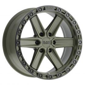 Black Rhino Custom Wheels HENDERSON OD GREEN W/BLACK LIP EDGE & BLACK BOLTS