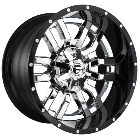 Fuel Custom Wheels D270 SLEDGE CHROME PLATED GLOSS BLACK LIP