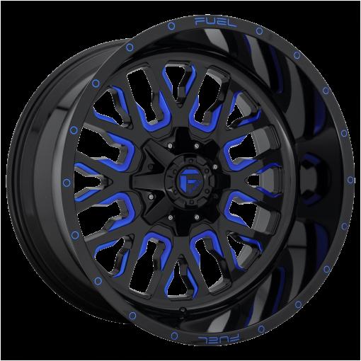 Fuel Wheels D645 STROKE GLOSS BLACK BLUE TINTED CLEAR
